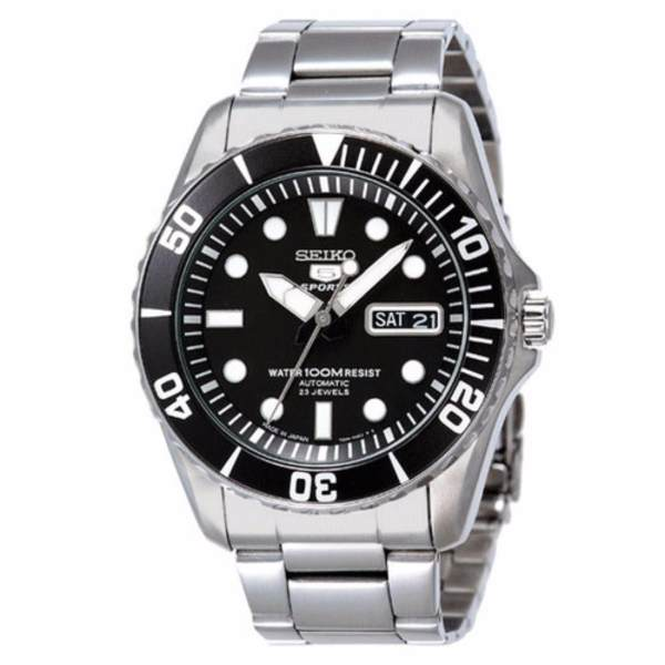 Seiko 5 Sports SNZF17 J1 Black Dial Stainless Steel Men's Automatic Analog Watch
