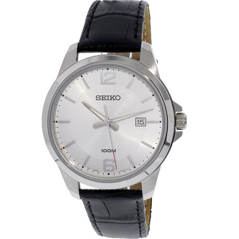 Seiko SUR249 P1Silver Dial Black Strap Men's Quartz Analog Watch