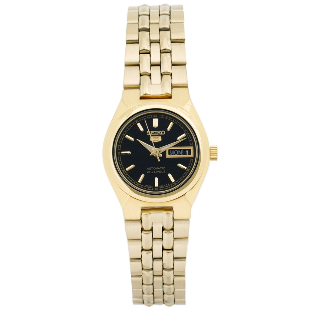 Seiko 5 SYMA06 K1 Gold With Black Dial Women's Automatic Analog Watch