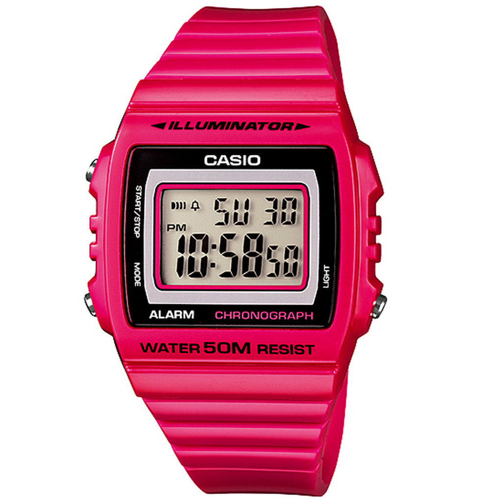 Casio W-215H-4A Shiny Pink 50m Women's Multi-function Digital Watch