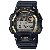Casio W-735H-1A2 Black & Gold Men's 100m Vibration Alarm Digital Sports Watch