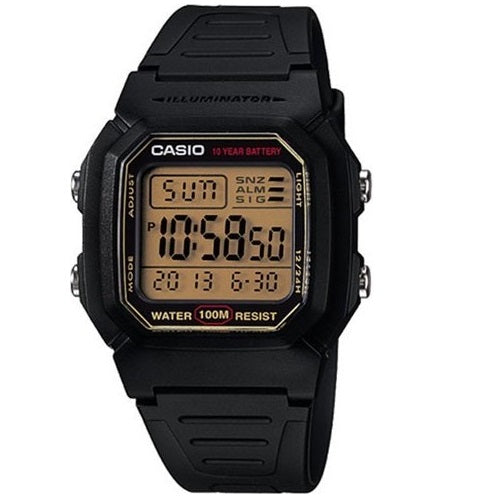 Casio W-800HG-9AV Black Dual Time 100m Men's Digital Sports Watch