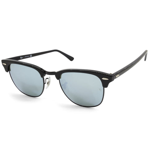 Ray-Ban Clubmaster RB3016 122930 Polished Black/Silver Mirror Unisex Sunglasses