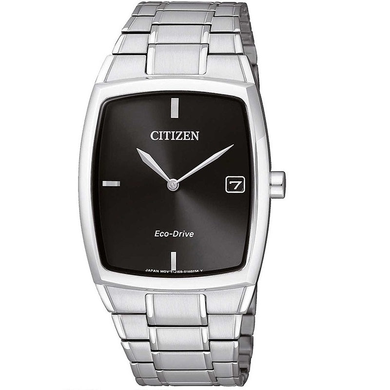 Citizen Eco Drive AU1070-82E Silver Black Dial Men's Rectangular Analog Watch