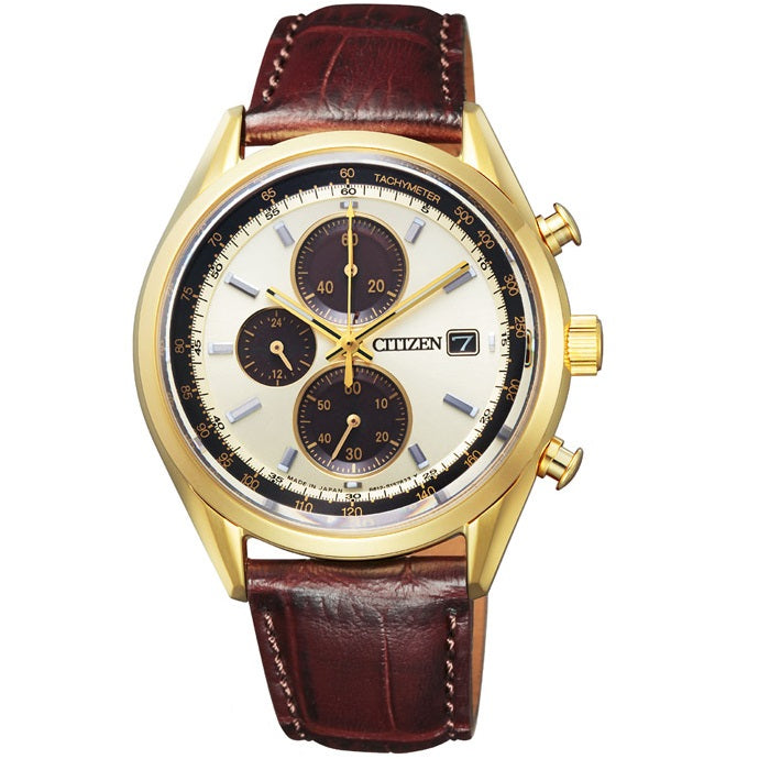 Citizen Eco-Drive CA0452-01P Gold Dial Leather Men's Solar Chronograph Watch