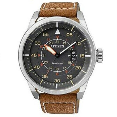Citizen Eco-Drive Aviator AW1360-12H Grey Brown Men's Solar Analog Watch