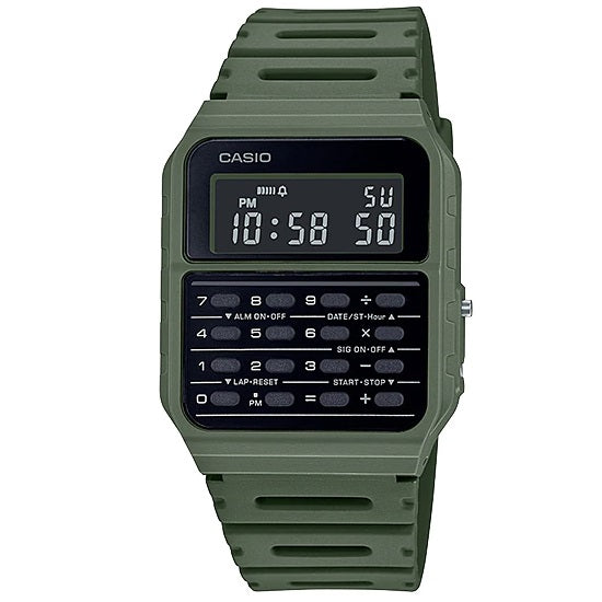 Casio CA-53WF-3B Green Vintage Retro Style Unisex Digital Calculator Watch