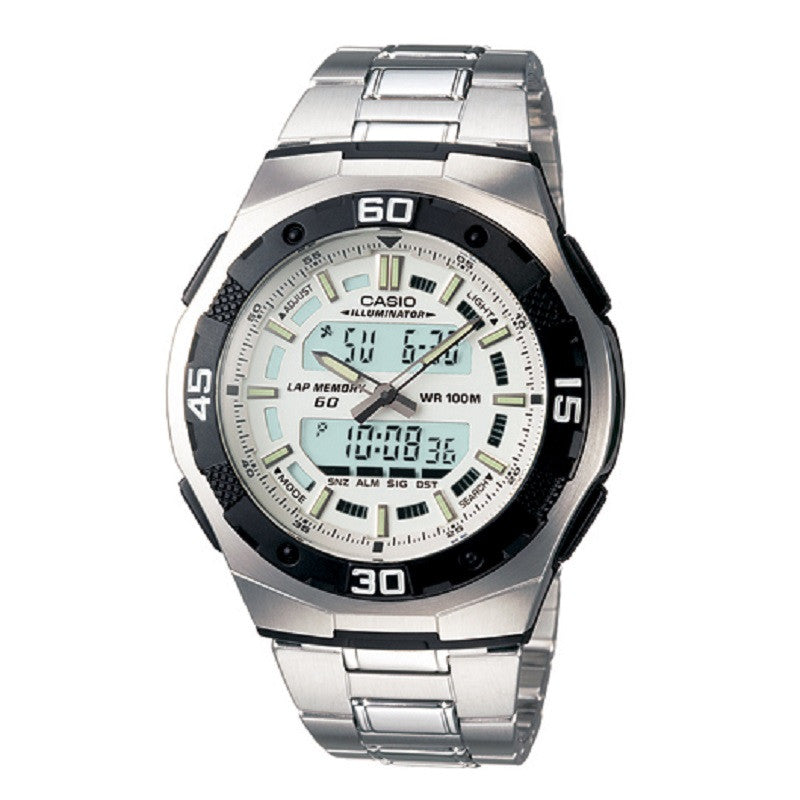 Casio AQ-164WD-7AV White-Silver Digital Analog Sports Watch