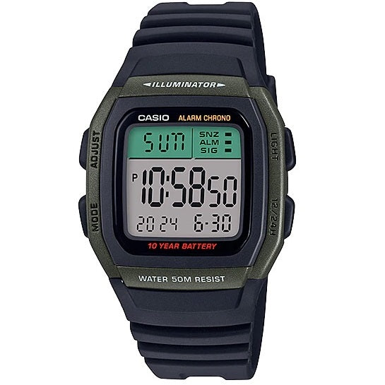 Casio W-96H-3A Green and Black 50m Dual Time Unisex Digital Sports Watch