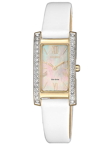 Citizen Eco Drive EX1478-17D White Leather Mother of Pearl Dial Women's Dress Watch