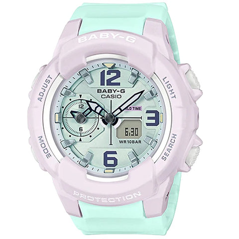 Casio Baby-G BGA-230PC-6B Light Green & White Women's 100m Analog-Digital Sports Watch