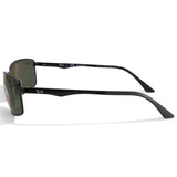 Ray-Ban RB3498 002/9A Polished Black/Grey-Green Men's Polarised Sunglasses