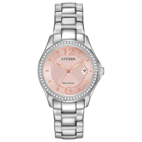 Citizen Eco Drive FE1140-51X Silver Light Pink Dial Women's Analog Dress Watch
