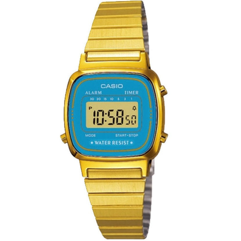 Casio LA670WGA-2 Gold & Light Blue Small Women's Stainless Steel Digital Watch