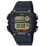 Casio DW-291H-9A Black & Gold 200m Men's Multifunction Digital Sports Watch