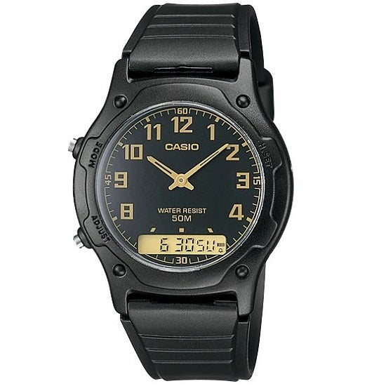 Casio AW-49H-1 Black Dial Casual Unisex Analog-Digital Watch