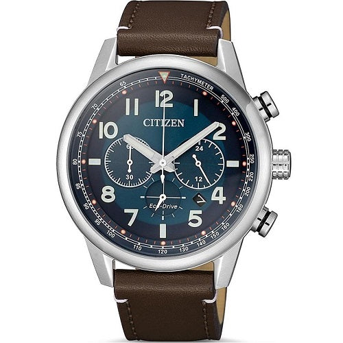Citizen Eco Drive CA4420-13L Blue Dial Leather Strap Men's Chronograph Solar Watch