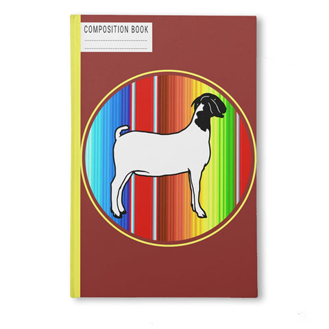 Serape Circle Show Goat Composition Book-College Ruled