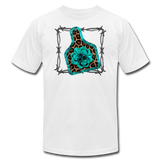 Faux Leather Cheetah Turquoise Animal Ear Tag Tshirt - white