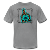 Faux Leather Cheetah Turquoise Animal Ear Tag Tshirt - slate