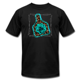 Faux Leather Cheetah Turquoise Animal Ear Tag Tshirt - black