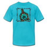 Faux Leather Cheetah Turquoise Animal Ear Tag Tshirt - turquoise