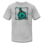 Faux Leather Cheetah Turquoise Animal Ear Tag Tshirt - heather gray