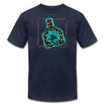 Faux Leather Cheetah Turquoise Animal Ear Tag Tshirt - navy