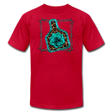 Faux Leather Cheetah Turquoise Animal Ear Tag Tshirt - red