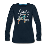 Show Lamb Southwest Indian Design-Jesus Saved & Barn Raised - deep navy