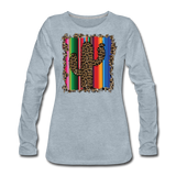 Boho Cactus Cheetah Serape Show Shirt - heather ice blue