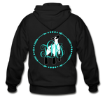 Show Lamb With Monogram Initials-Back Hoodie - black