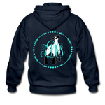 Show Lamb With Monogram Initials-Back Hoodie - navy