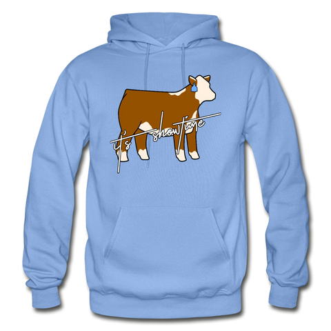 It's Showtime Show Hereford Steer Hoodie - carolina blue