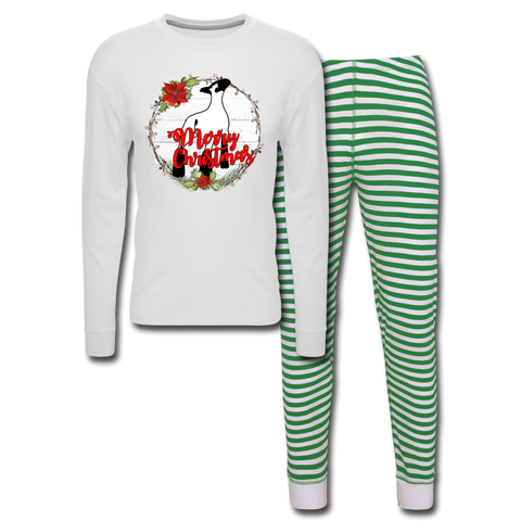 Show Lamb Sheep Unisex Pajama Set - white/green stripe