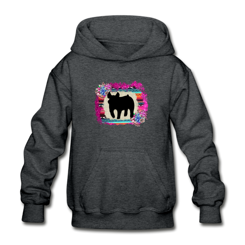Serape Succulent Show Pig Youth Kids Hoodie - deep heather