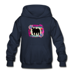 Serape Succulent Show Pig Youth Kids Hoodie - navy