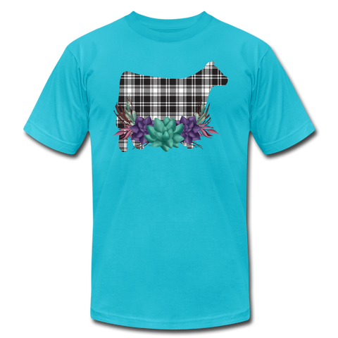 Show Steer Black White Plaid With Succulents - turquoise