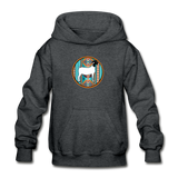 Serape Circle Show Goat Design Youth Hoodie - deep heather