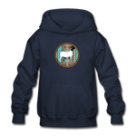 Serape Circle Show Goat Design Youth Hoodie - navy