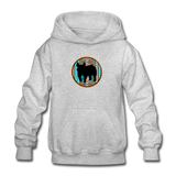Show Pig Serape Circle Design Youth Hoodie - heather gray