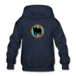 Show Pig Serape Circle Design Youth Hoodie - navy