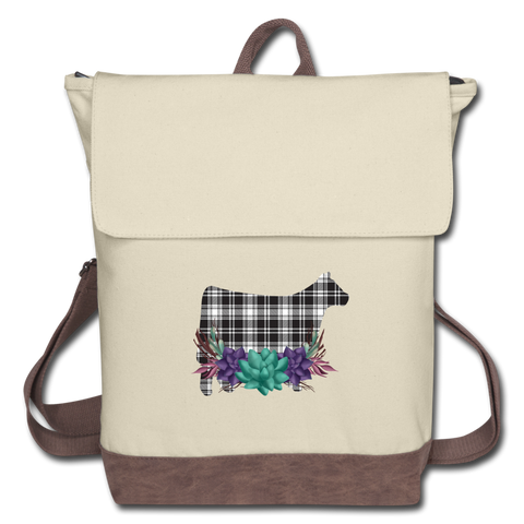 Black White Plaid Show Steer Canvas Backpack With Succulents - ivory/brown