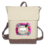 Show Goat Canvas Backpack Serape Burlap & Succulents Background - ivory/brown