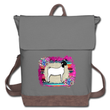 Show Goat Canvas Backpack Serape Burlap & Succulents Background - gray/brown