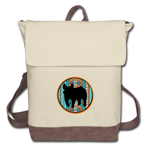 Circle Show Pig Southwest Indian Canvas Backpack - ivory/brown