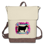 Show Steer Canvas Backpack With Serape & Succulents - ivory/brown