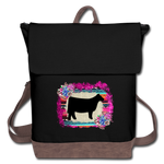 Show Steer Canvas Backpack With Serape & Succulents - black/brown