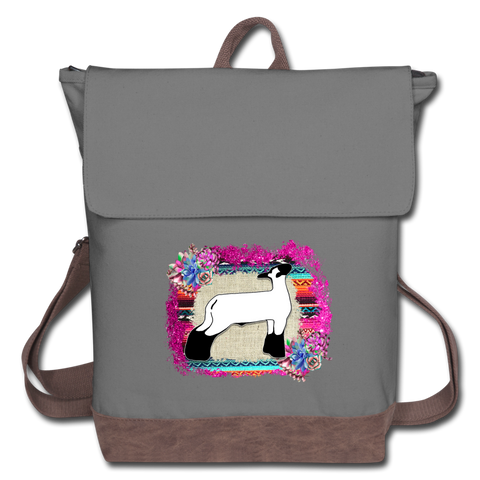 Show Lamb Canvas Backpack Serape & Succulents Background - gray/brown
