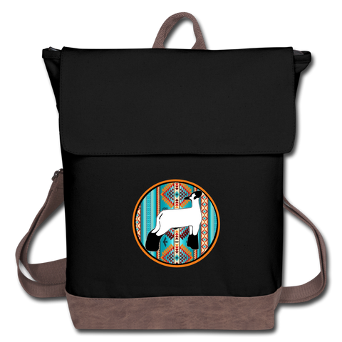 Circle Show Lamb Southwest Indian Design Canvas Backpack - black/brown